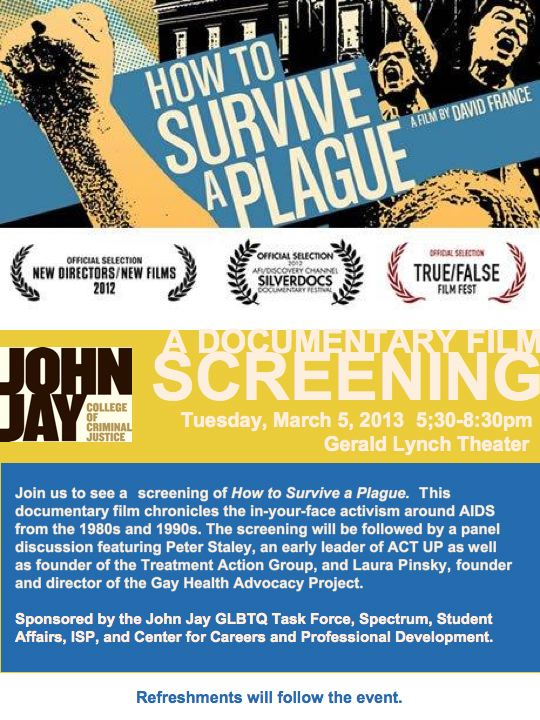 How to Survive A Plague Screening at John Jay College