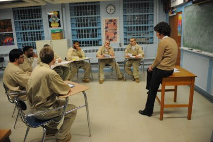 Celia Chazelle teaches inmates in a New Jersey correctional facility (Photo credit: PrincetonInfo)