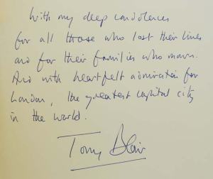 Handwritten letter of condolence after the 7/7 attacks (Photo: Stephen Hird— Reuters/Corbis)